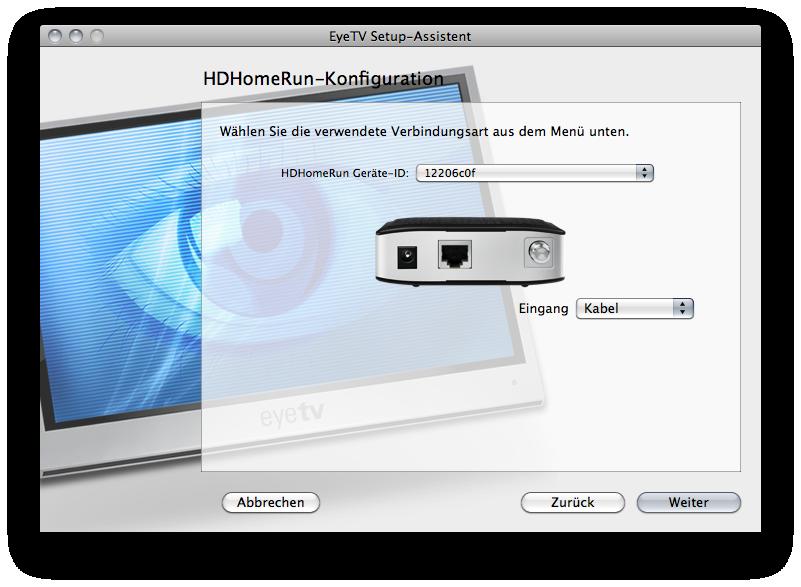 Ausschnitt aus dem Installationsvorgang des HDHR3-EU in EyeTV3 unter OS X